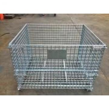 Industrial Stackable Welded Steel Wire Mesh Pallet Cage For Warehouse Storage