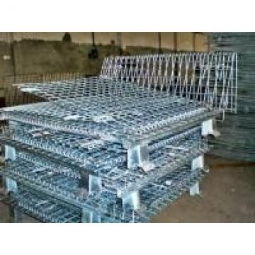 Heavy Duty Galvanized Foldable Wire Mesh Pallet Cage With Cold Drawn Steel